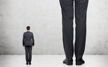 Small person and tall person